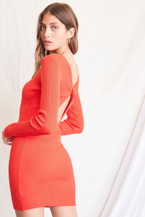 RED Twisted-Back Sweater Dress, image 1