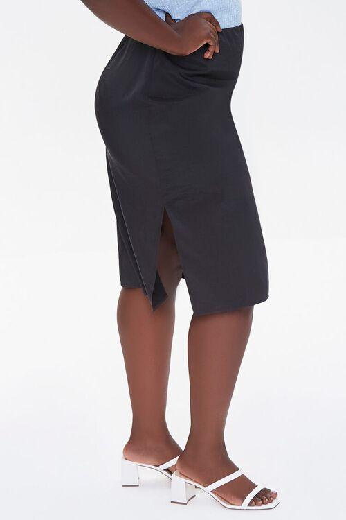 BLACK Plus Size High-Rise Slit Skirt, image 3