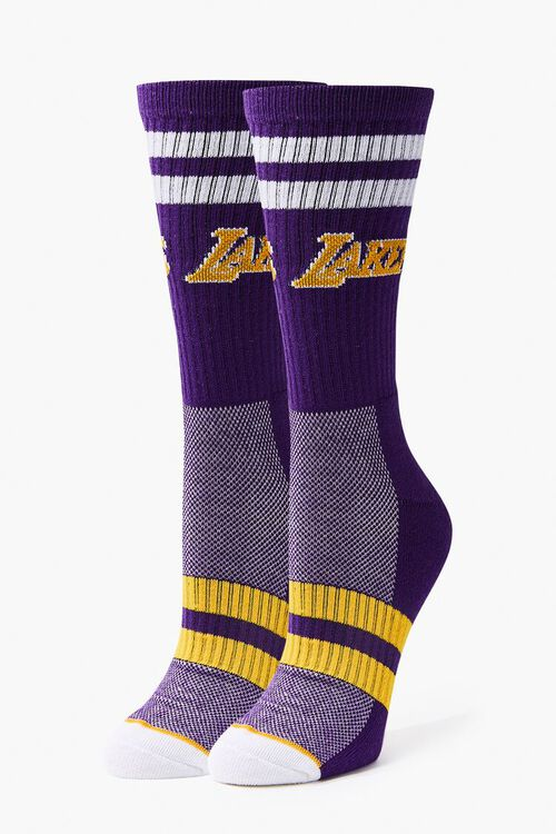 Men Striped Lakers Crew Socks, image 3