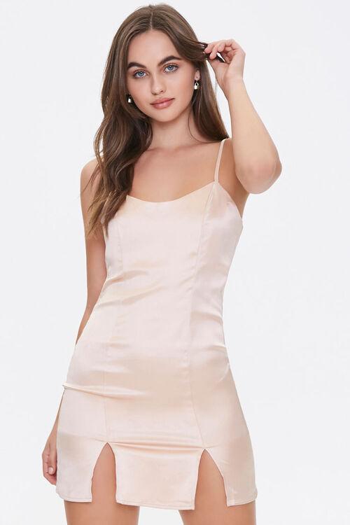 Satin M-Slit Mini Dress, image 1