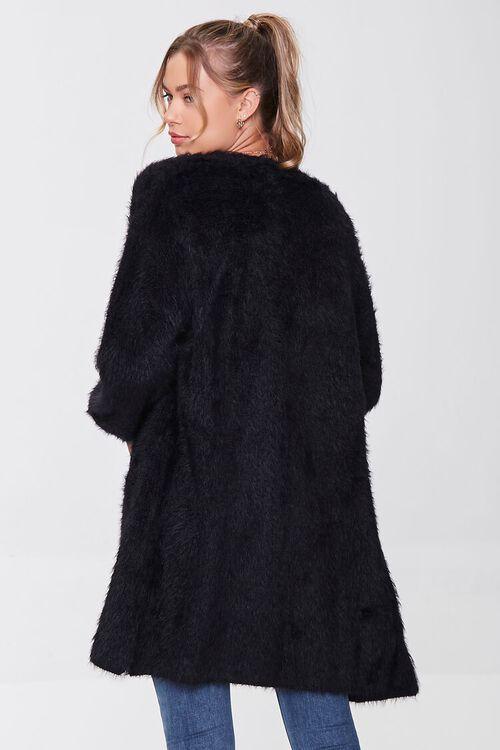 BLACK Fuzzy Knit Cardigan Sweater, image 3