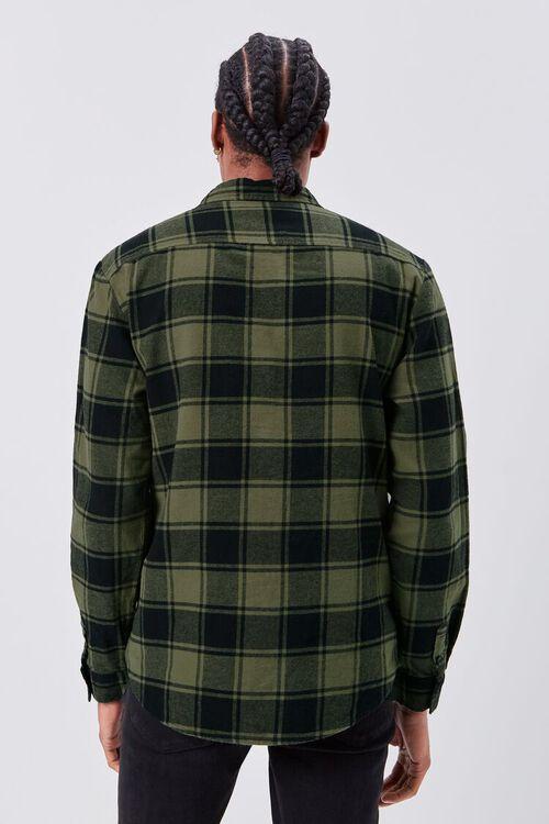 OLIVE/BLACK Classic Fit Flannel Plaid Shirt, image 3