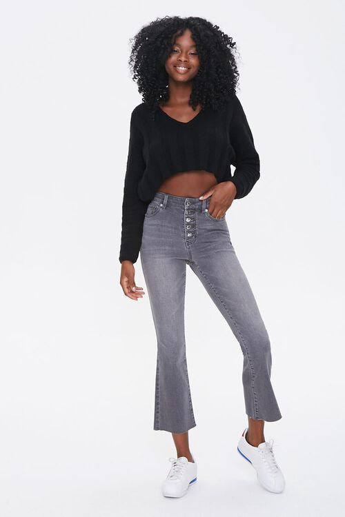 GREY High-Rise Flare Ankle Jeans, image 1