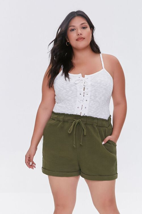 Plus Size Textured Drawstring Shorts, image 1