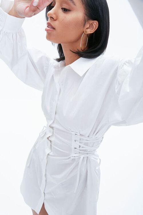 Poplin Lace-Up Shirt Dress, image 5