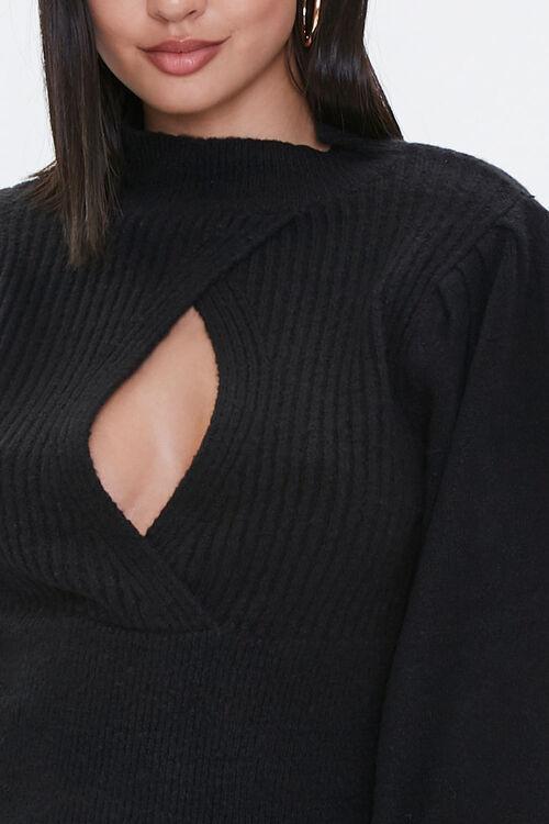Ribbed Surplice Cutout Sweater, image 5