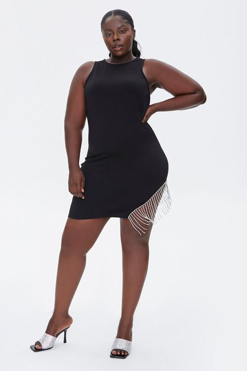 Plus Size Rhinestone Fringe Dress, image 4