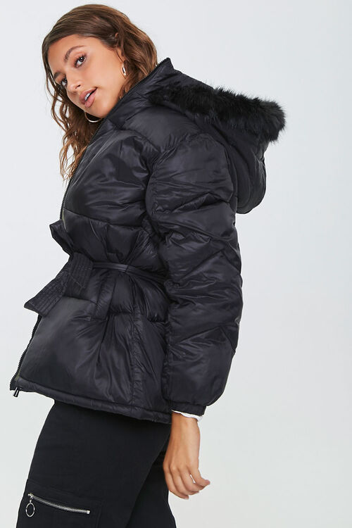 Faux Fur-Trim Puffer Jacket, image 2