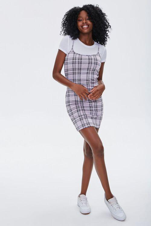 LAVENDER/WHITE Plaid Cami Overall Dress, image 4