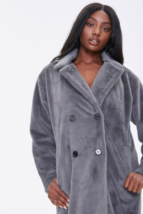 Faux Fur Button-Front Trench Coat, image 5