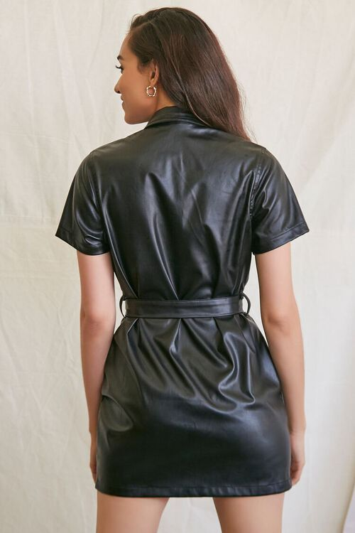 BLACK Faux Leather Shirt Dress, image 3
