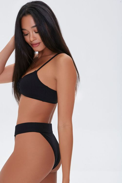 Ribbed Ruched Bralette Bikini Top, image 2