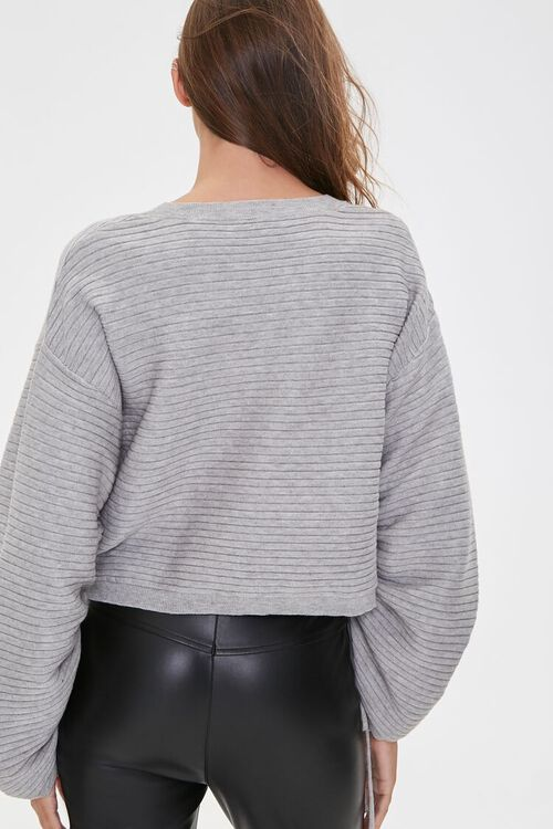 Ribbed Ruched-Sleeve Sweater, image 3