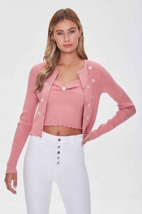 Daisy Print Cardigan Sweater, image 1