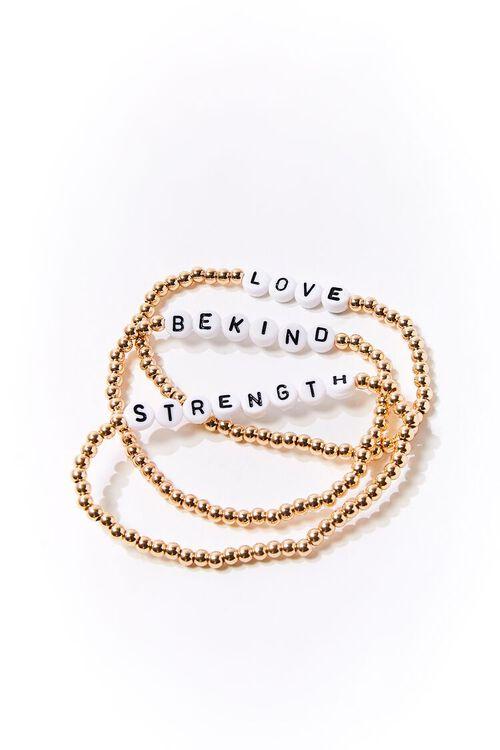 Beaded Text Charm Bracelet Set, image 1