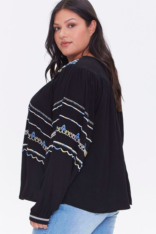 Plus Size Embroidered Peasant Top, image 2
