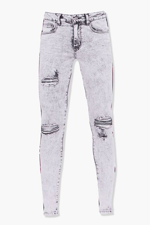 Distressed Side-Striped Skinny Jeans, image 1