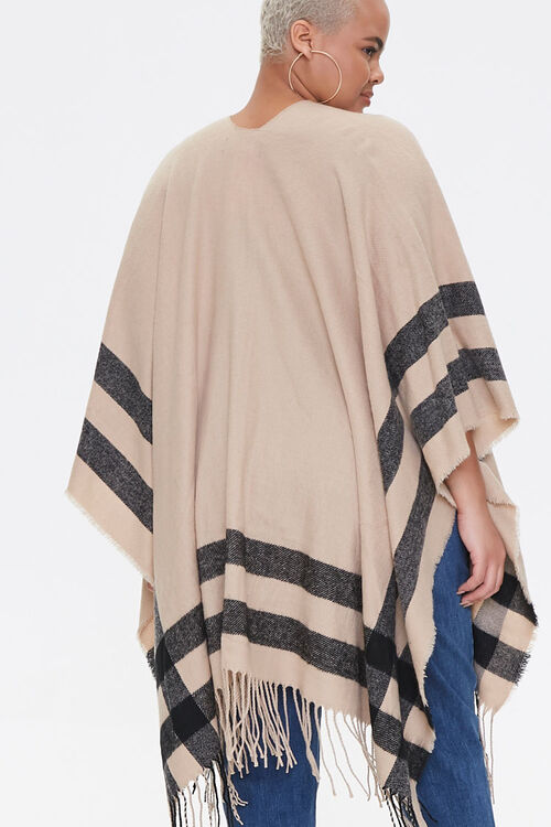 Plus Size Striped Fringe Poncho, image 3