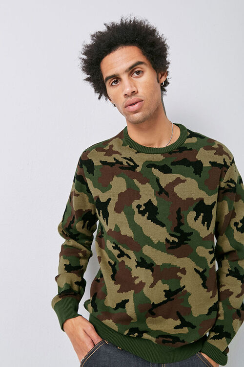 Crew Neck Camo Knit Sweater, image 1
