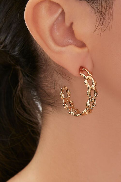 Upcycled Curb Chain Hoop Earrings, image 1