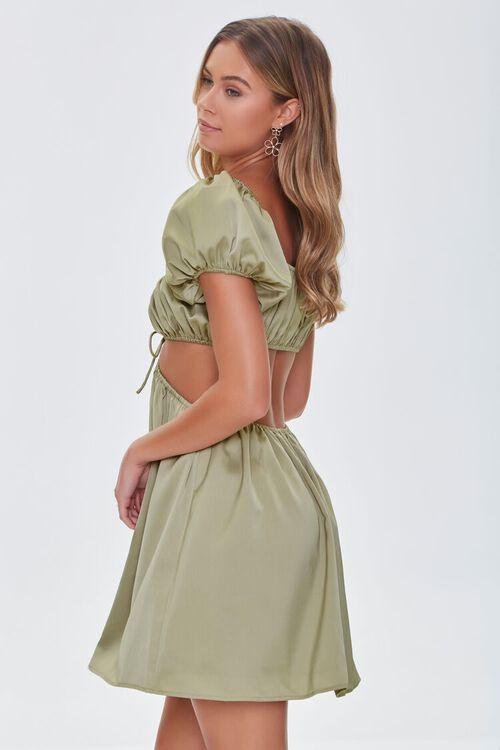 SAGE Satin Puff Sleeve Mini Dress, image 3