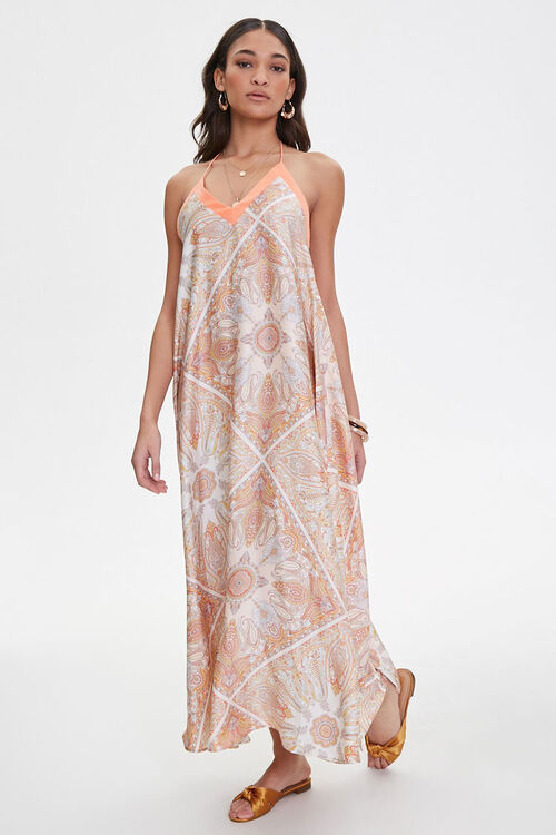 Satin Ornate Print Trapeze Dress, image 4