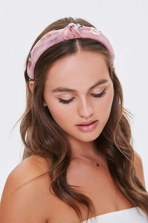 Floral Print Knotted Headband, image 1