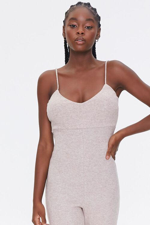 OATMEAL Ribbed Cami Jumpsuit, image 5