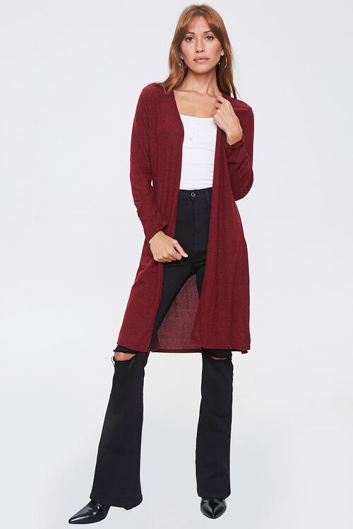 Heathered Open-Front Cardigan, image 4
