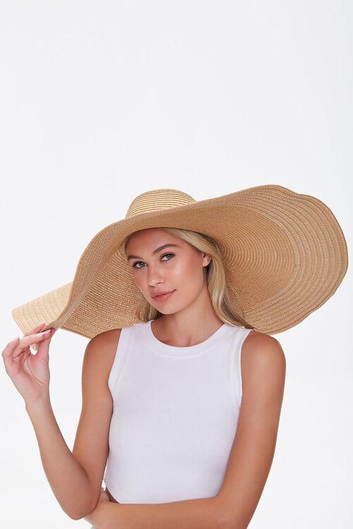 TAN Oversized Floppy Straw Hat, image 2