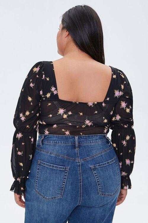 Plus Size Floral Print Bodysuit, image 3