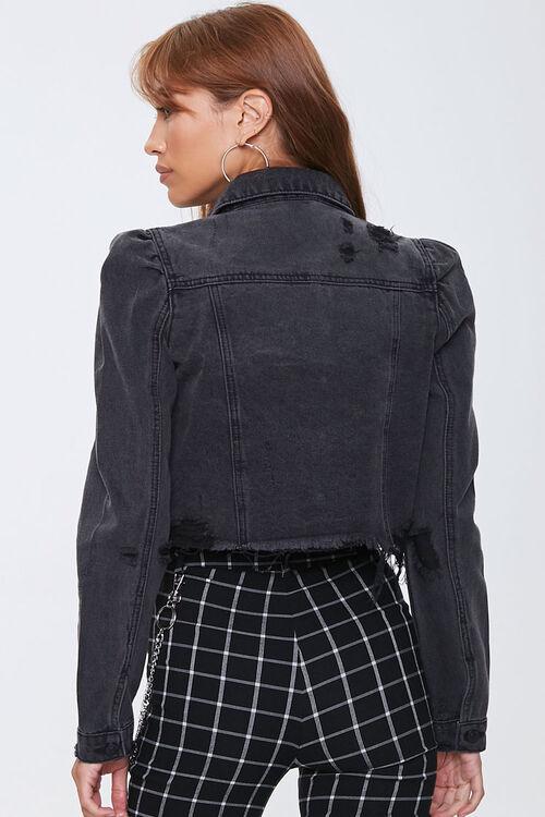 Frayed Puff-Sleeve Denim Jacket, image 3