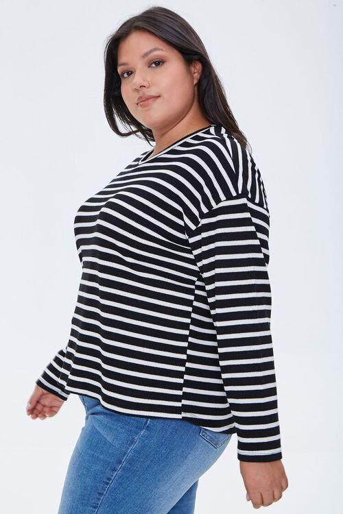Plus Size Striped Drop-Sleeve Top, image 2