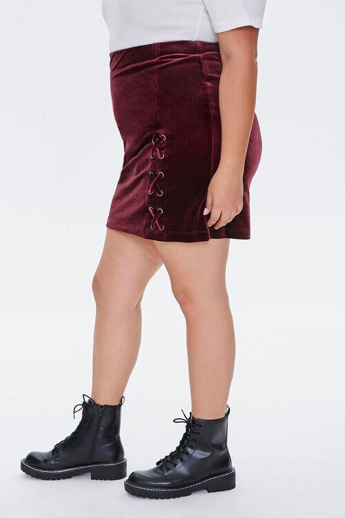 BURGUNDY Plus Size Velvet Skort, image 3