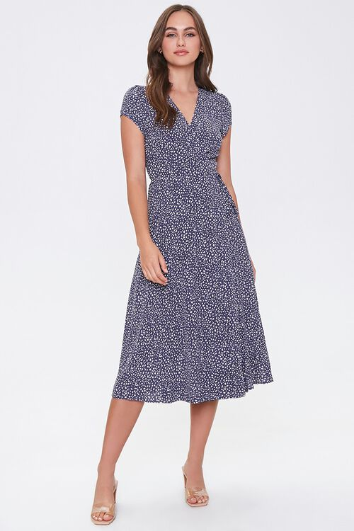 NAVY/CREAM Spotted Fit & Flare Wrap Dress, image 4