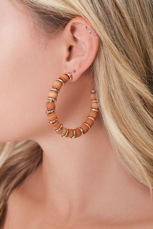 Wood & Disc Charm Hoop Earrings, image 1
