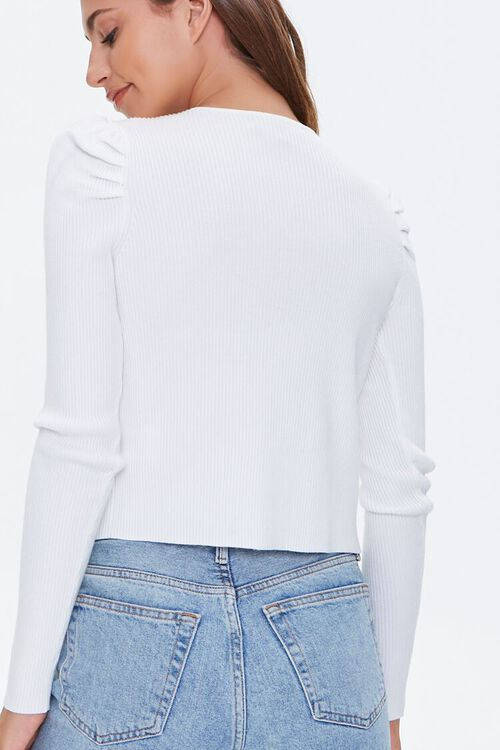 Ruched-Sleeve Cardigan Sweater, image 3