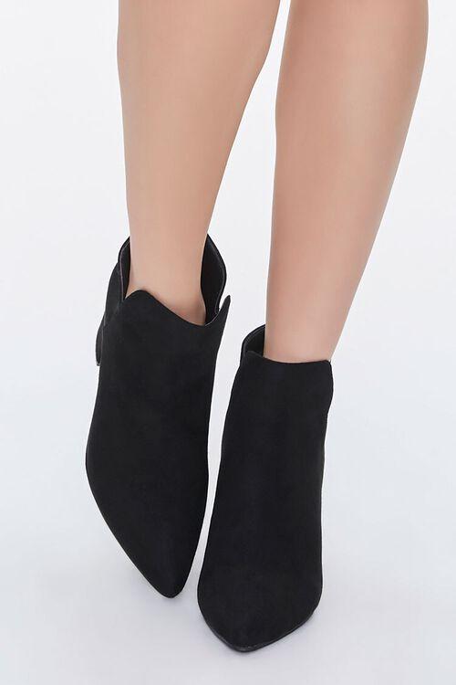Faux Suede Notched Block Heel Booties, image 4