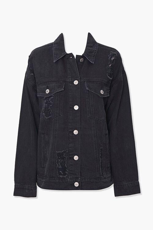 Distressed Boyfriend Denim Jacket, image 1