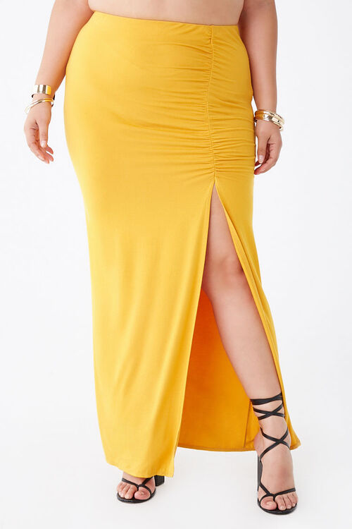 Plus Size Ruched Maxi Skirt, image 2