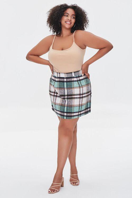 TAUPE/MULTI Plus Size Plaid Zippered Mini Skirt, image 5
