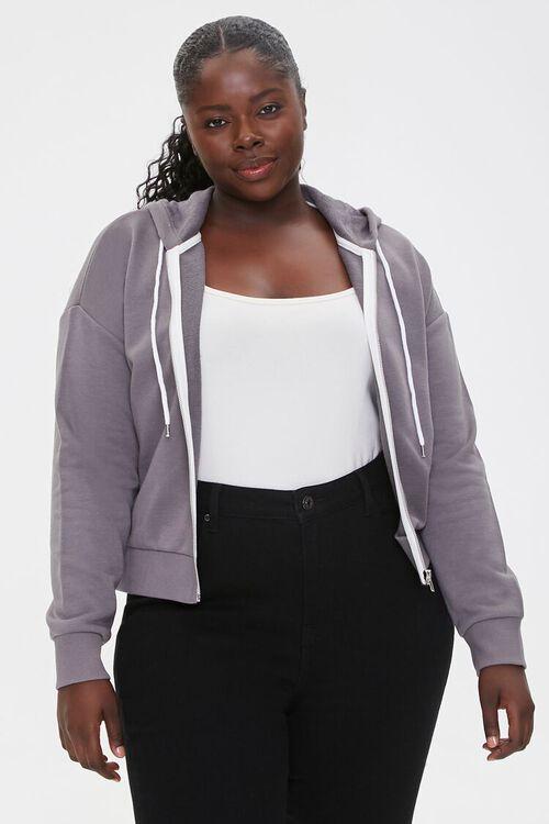 Plus Size Fleece Zip-Up Hoodie, image 1