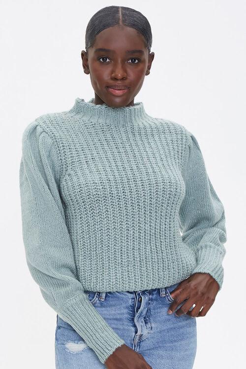 Mock Neck Ribbed Sweater, image 1