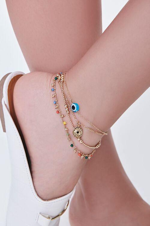 GOLD/MULTI Evil Eye Chain Anklet Set, image 1