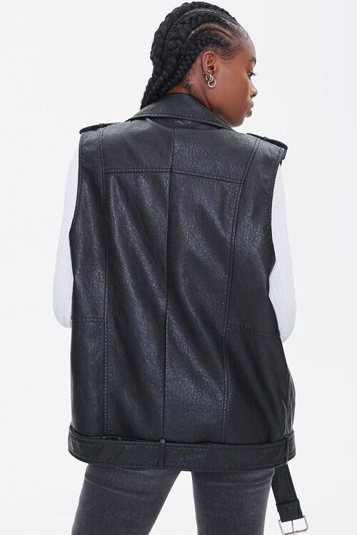 BLACK Faux Leather Moto Vest, image 3