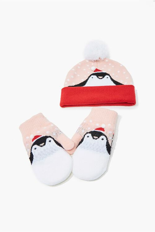 Girls Penguin Beanie & Mittens Set (Kids), image 1