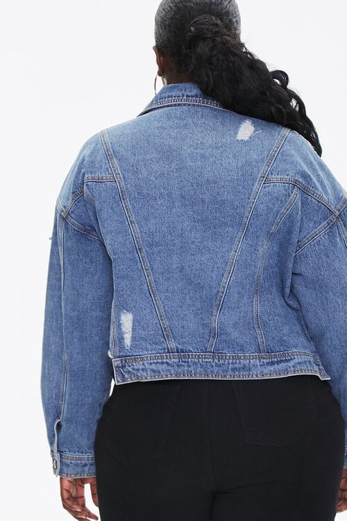 Plus Size Cropped Fringe Denim Jacket, image 3