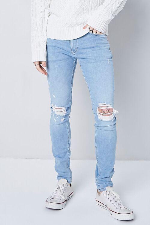 LIGHT DENIM Premium Distressed Skinny Jeans, image 2