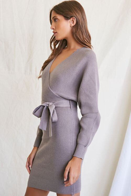 LIGHT GREY Sweater-Knit Wrap Dress, image 2
