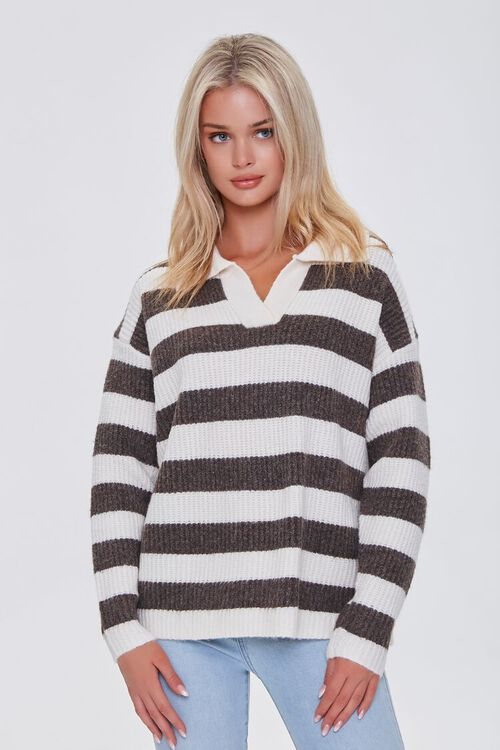 CREAM/BROWN Striped Sweater-Knit Pullover, image 1